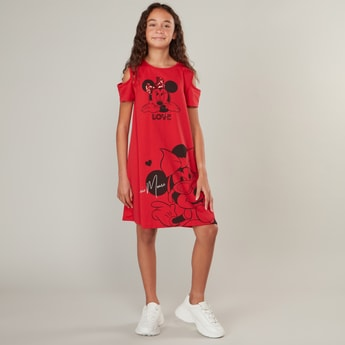 Minnie Mouse Print Cold Shoulder Dress with Round Neck