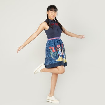 Snow White Printed Sleeveless Dress with Spread Collar