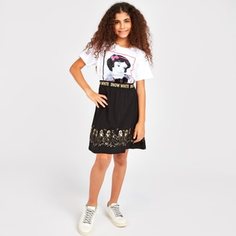 Snow White Print Short Sleeves T-shirt with Skirt
