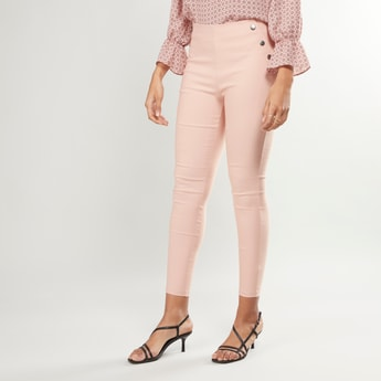 Plain Pants with Elasticised Waistband and Button Detail