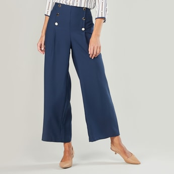 Plain Mid-Rise Palazzo Pants with Button Detail