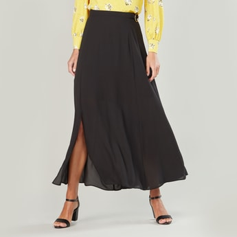 Plain Maxi A-line Skirt with Elasticised Waistband and Belt