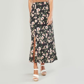 Floral Printed Maxi A-line Skirt with Elasticised Waistband and Belt