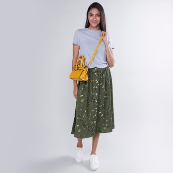 Printed Midi A-line Skirt with Button Detail