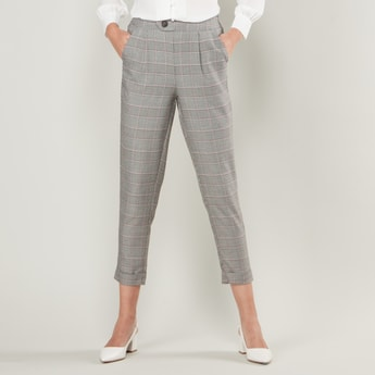 Check Print Cropped Pants with Pockets and Button Closure