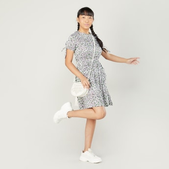 Printed Dress with Round Neck and Short Sleeves