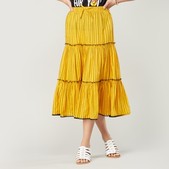 Textured Skirt with Elasticised Waistband and Belt