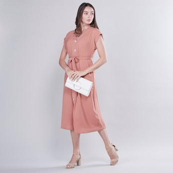 Plain Midi Shirt Dress with V-neck and Extended Sleeves
