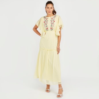 Floral Embroidered A-line Maxi Dress with Short Sleeves