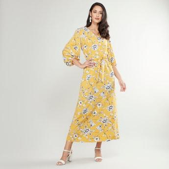 فستان طويل بياقة V وأكمام بيشوب وطبعات زهرية