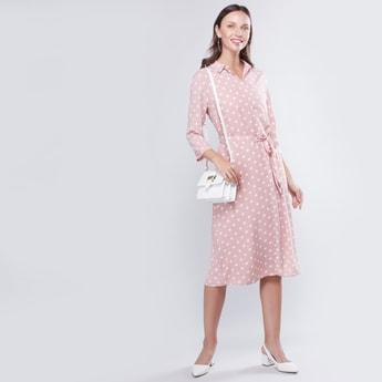 Polka Dots Printed Midi Shirt Dress with 3/4 Sleeves and Tie Ups