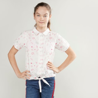 Printed Shirt with Short Sleeves and Knot Detail