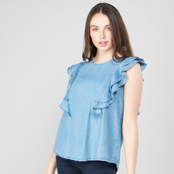 Solid Round Neck Top with Ruffled Cap Sleeves and Cutout Detail