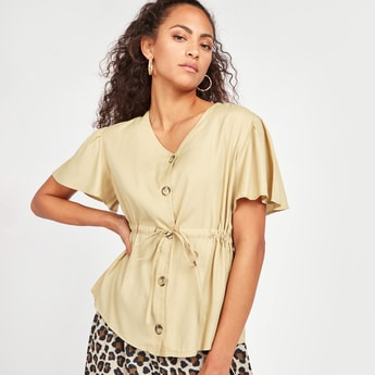 Solid V-neck Top with Short Sleeves and Tie Ups
