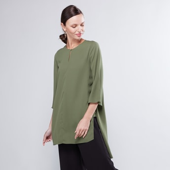Solid Tunic with Keyhole Neckline and 3/4 Tulip Sleeves