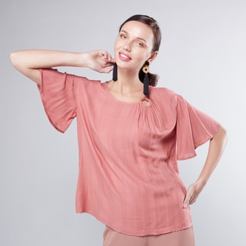 Plain Top with Round Neck and Flared Sleeves