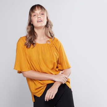 Plain Top with Round Neck and Flutter Sleeves
