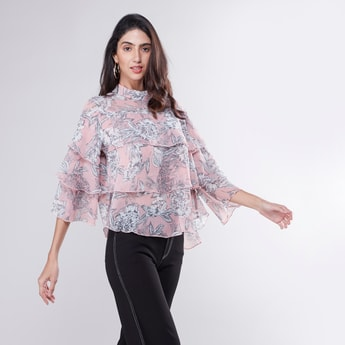 Printed Layered Top with High Neck and 3/4 Sleeves