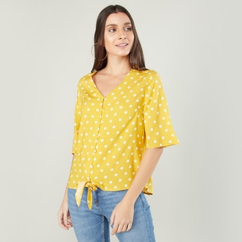 Polka Dots Printed Top with 3/4 Sleeves and Tie Ups