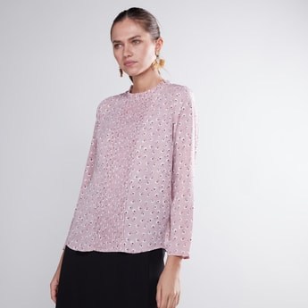 Printed Pintuck Top with Round Neck and Long Sleeves