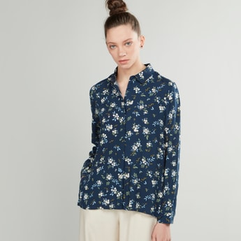 Floral Printed Shirt with Spread Collar and Long Sleeves