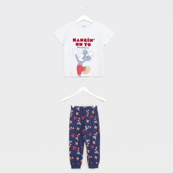 Mickey Mouse Print Short Sleeves T-shirt with Pyjama