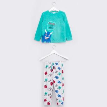 Printed Long Sleeves T-shirt with Full Length Jog Pants