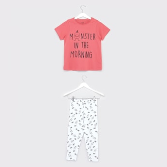 Printed Round Neck T-shirt and Pyjamas Set