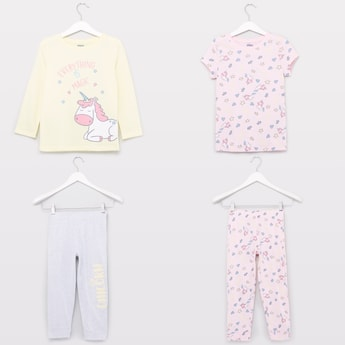 4-Piece Graphic Printed T-shirt and Pyjama Set