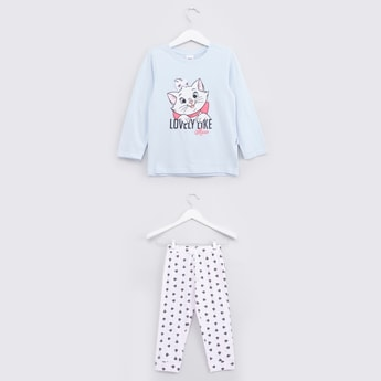 Marie The Cat Printed Long Sleeves T-shirt and Pyjama Set