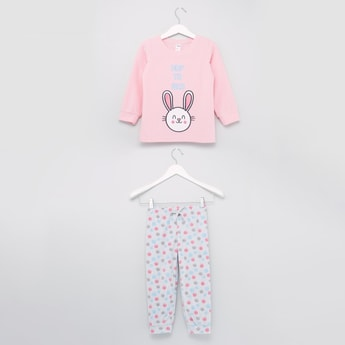 Embroidery Detail Sweatshirt and Printed Jog Pants Set
