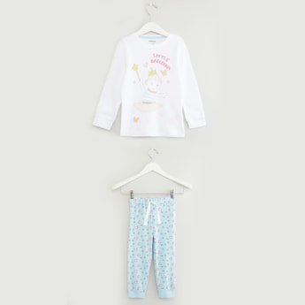 Printed Long Sleeves T-shirt with Full Length Jog Pants