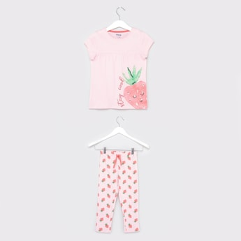 Strawberry Print T-shirt and Pyjamas Set