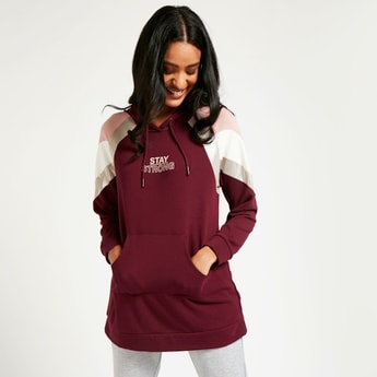 Panelled Longline Hoodie with Long Sleeves and Kangaroo Pockets