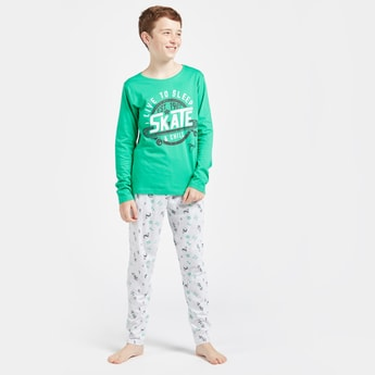 Printed T-shirt with Long Sleeves and Full Length Pyjama Set