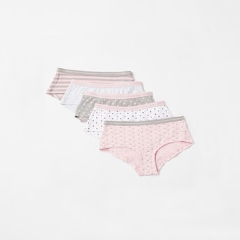 Set of 5 - Printed Boyshort Briefs with Elasticised Waistband
