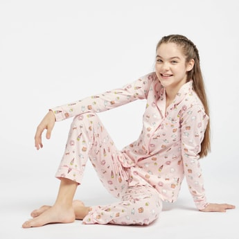 All-Over Print Long Sleeves Sleepshirt and Pyjama Set