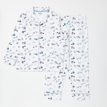 All-Over Print Long Sleeves Sleepshirt and Full Length Pyjama Set