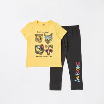 Animal Face Print T-shirt and Pyjama Set