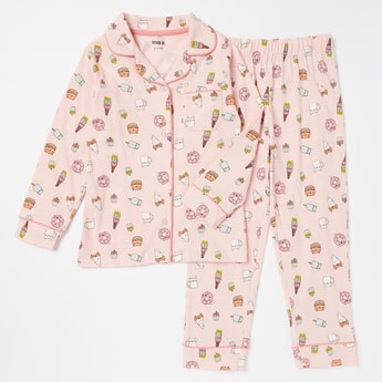 Printed Ling Sleeves Collared Shirt and Full Length Pyjama Set