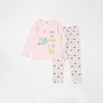 Slogan Print Long Sleeves T-shirt and Jog Pants Set