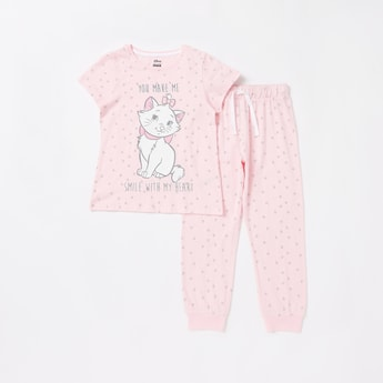 Marie the Cat Print T-shirt and Jog Pants Set