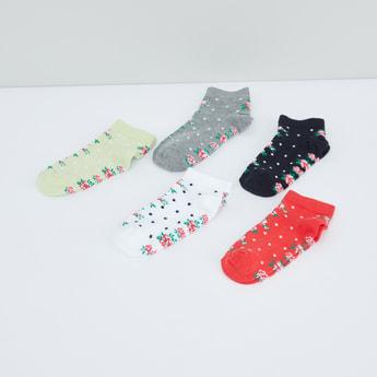 Floral Printed Ankle Length Socks - Set of 5