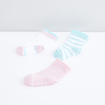 Assorted Socks with Patterned Cuff - Set of 3