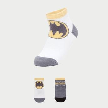 Set of 2 - Batman Print Ankle Length Socks with Cuffed Hem
