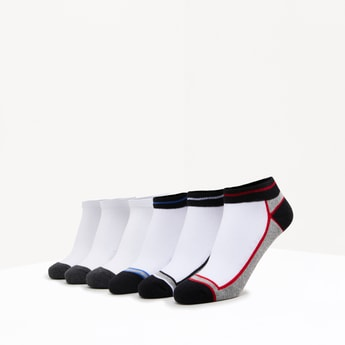 Set of 6 - Striped Ankle Length Socks with Cuffed Hem