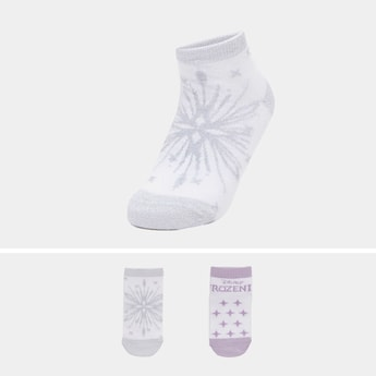 Set of 2 - Frozen Print Ankle Length Socks with Cuffed Hem