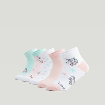Set of 5 - Assorted Ankle Length Socks with Cuffed Hem