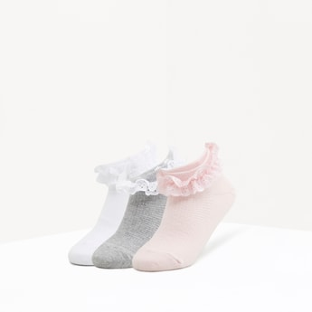 Set of 3 - Textured Socks with Cuffed Hem and Frill Detail