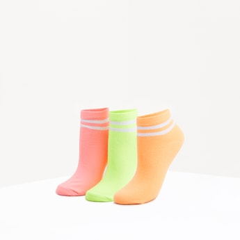 Set of 3 - Striped Ankle Length Socks with Cuffed Hem